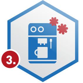 3. Schritt: Kaffeemaschinen in Wabe, blau