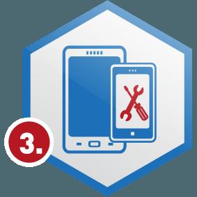 3. Schritt: Smartphone in Wabe, blau