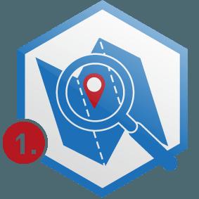 1. Schritt: Landkarte mit Lupe und Standort-Icon in Wabe, blau