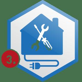 3. Schritt: Haus mit Schukostecker in Wabe blau