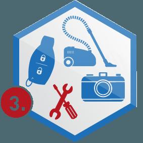 3. Schritt: diverse Kleingeräte in Wabe, blau