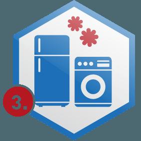3. Schritt: Küchengeräte in Wabe, blau