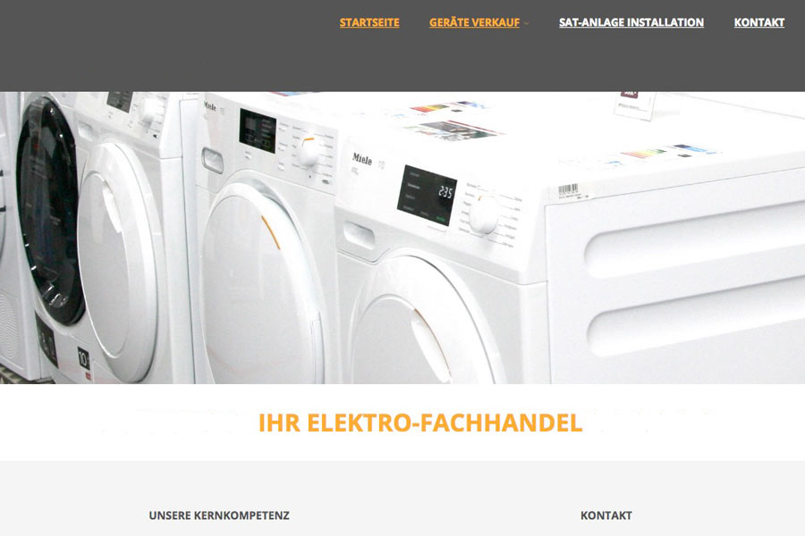 Beispiel eigene Firmenwebseite für Hausgeräte Fachhandel