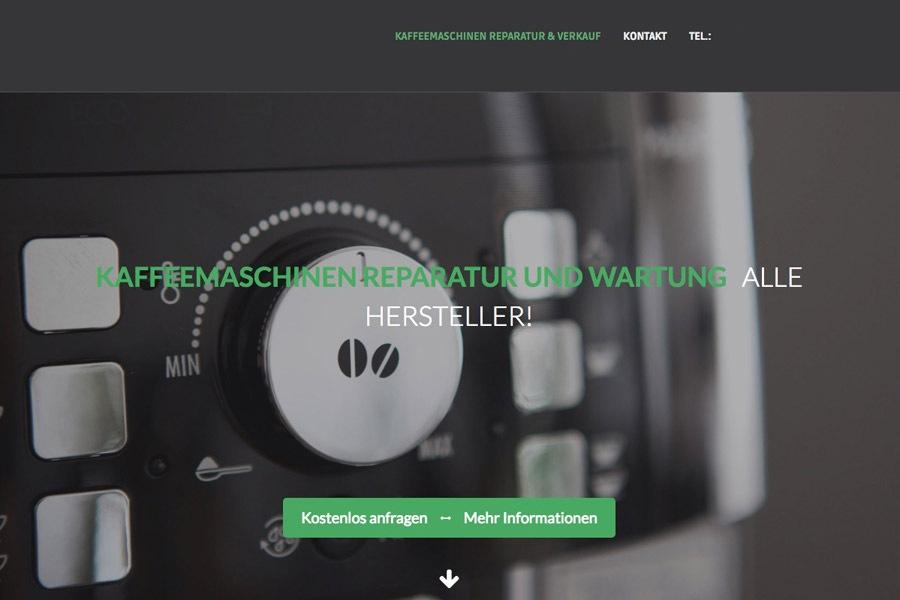 Beispiel eigene Firmenwebseite für Kaffee Techniker