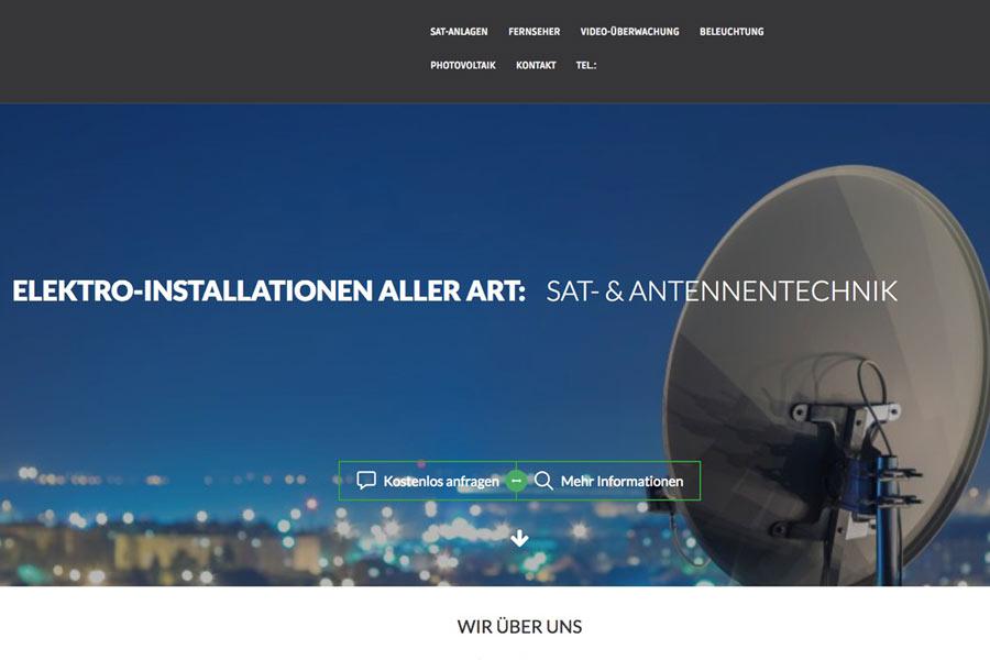 Beispiel eigene Firmenwebseite für Sat-Techniker