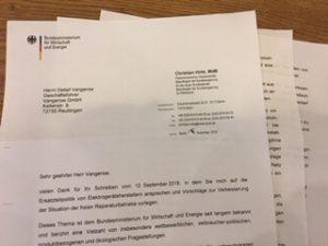 Wirtschaftsministerium, Christian Hirte (MdB), Antwort auf Reparatur Petition